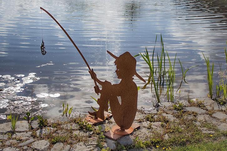 """Angler """"Pedro"""" mit Fisch (V2A) - Angler Rostig, Fisch V2A"""