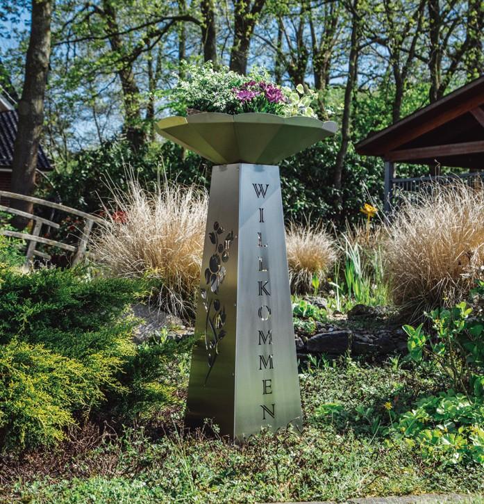 Blumensäule mit Schale groß Edelstahl