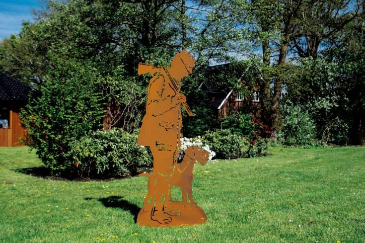 Jäger mit Hund - Drahthaar