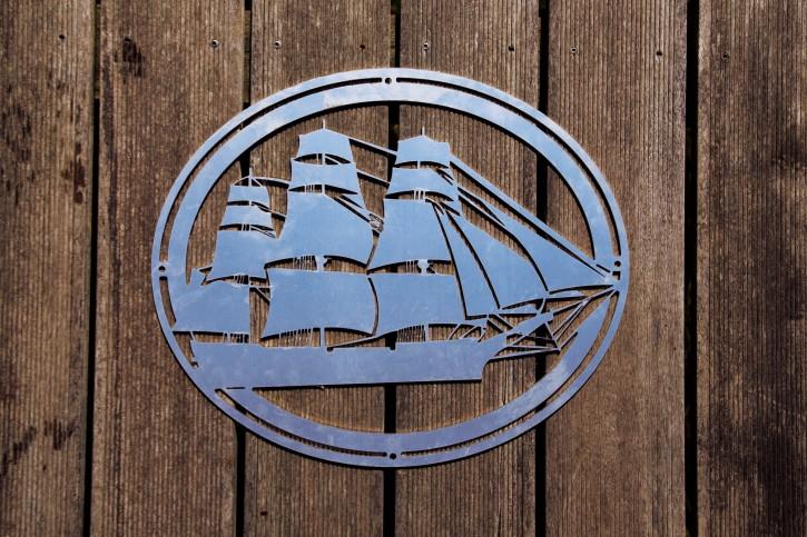 Segelschiff aus V2A, oval
