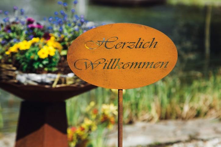 """Stecker """"Herzlich willkommen"""" - Oval - Rostig"""