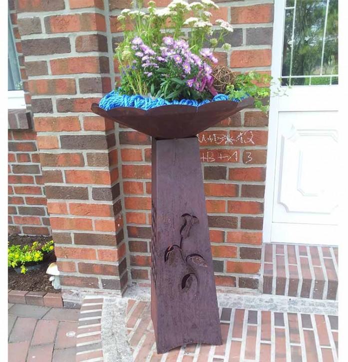 Blumensäule mit Schale groß Rostig