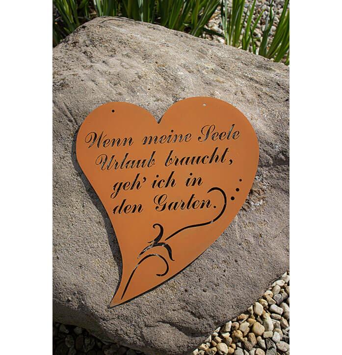 """Herz mit Spruch 3 """"Wenn meine Seele Urlaub braucht, gehe ich in den Garden"""" - Rostig"""
