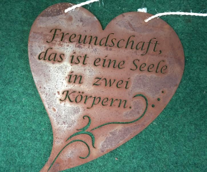 """Herz mit Spruch """"Freundschaft, das ist eine Seele in zwei Körpern"""" - Rostig - Ohne Band"""
