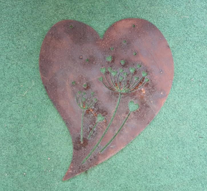 Herz mit Pusteblume - Rostig