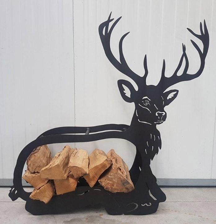 Holzhalter Hirsch - Schwarz lackiert