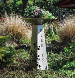 Blumensäule mit Schale klein Edelstahl